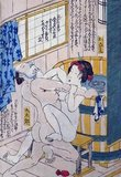 Keisai Eisen (渓斎 英泉, 1790–1848) was a Japanese ukiyo-e artist who specialised in bijinga (pictures of beautiful women). His best works, including his ōkubi-e ('large head pictures'), are considered to be masterpieces of the 'decadent' Bunsei Era (1818–1830). He was also known as Ikeda Eisen, and wrote under the name of Ippitsuan.